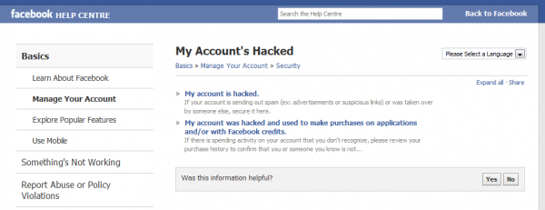 My account is hacked webpage