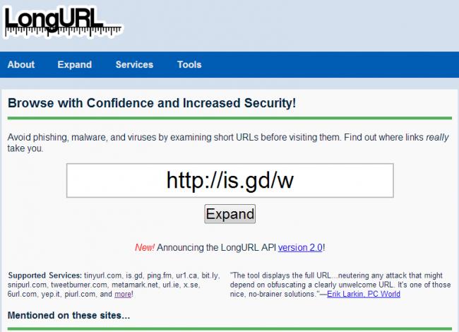 Long URL expander