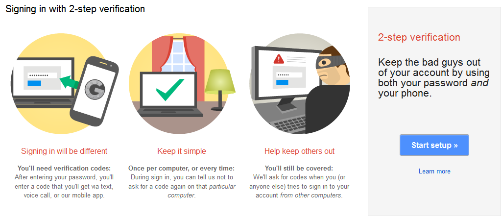 Gmail Security Checkup 2-step verification