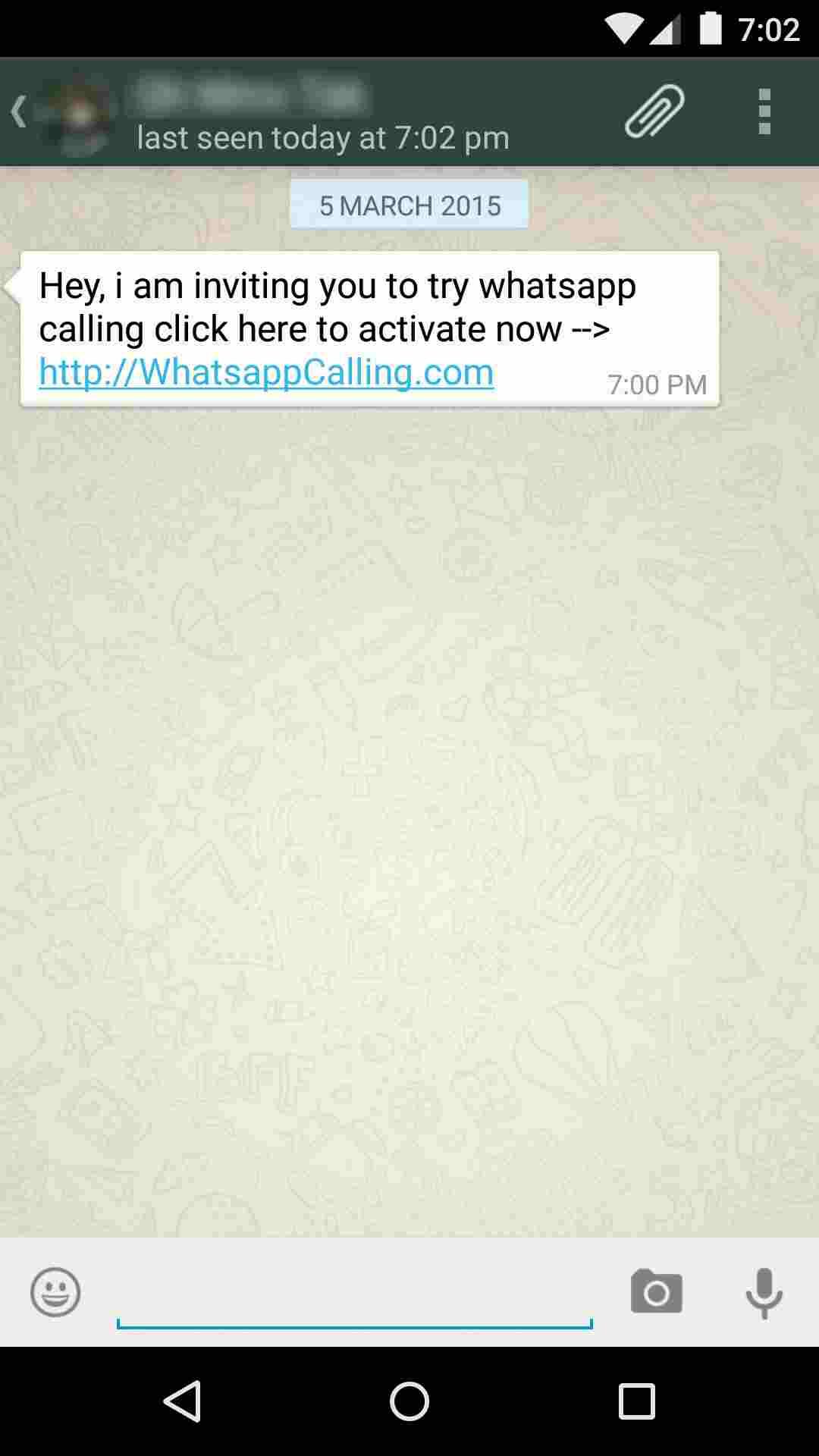 WhatsApp Calling Invitation Scam