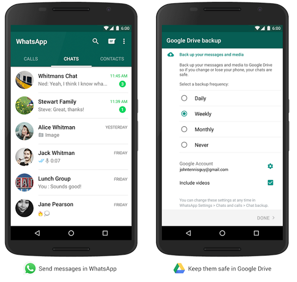 WhatsApp data backup