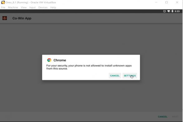 Fig.3 Solicitar permiso para instalar aplicaciones desconocidas